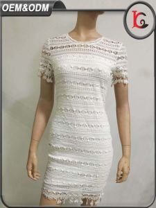 2017 New Fashion White Lace One Piece Dress Elegant Short Sleeve Women Dresses in Guangzhou pictures & photos