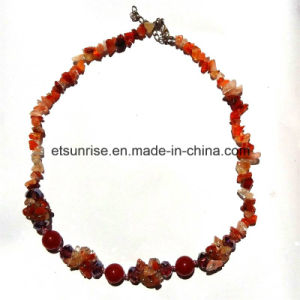 Fashion Semi Precious Stone Natural Crystal Carnelian Chips Necklace Jewelry pictures & photos