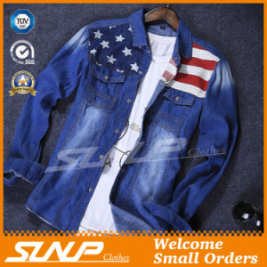 Mens Cotton Stylish Long Sleeve Jean Fashion Denim Shirt Clothes pictures & photos