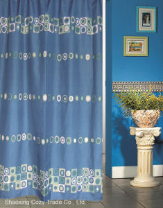 Blue Sea Circle Design Fabric Shower Curtain pictures & photos