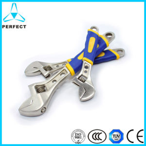 CRV Steel Satin Chrome Plated Adjustable Spanner with Plastic Handle pictures & photos