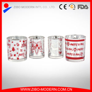 Wholesale Beautiful Decal Silver Plated Glass Cup Candle pictures & photos