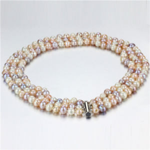 Snh 8-9mm A Grade 3 Rows Multicolor Pearl Necklace Wholesale