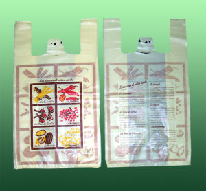 HDPE Printed Plastic Vest Handle Bag pictures & photos