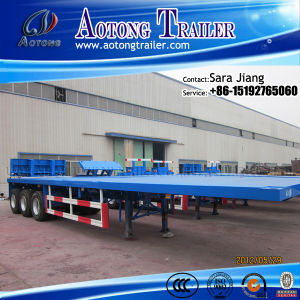 Aotong 40ft Transport Container Flatbed Container Trailer pictures & photos