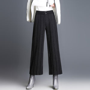Latest Women′s Fashion High Waisted Strip Wide Leg Pants pictures & photos