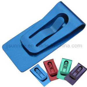 Very Practical and Popular Metal Money Holder (JJ-SS-MC01-01(matt)-blue)