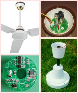 "Promotional Model 36"" Solar DC 12V Ceiling Fan with Brushless Motor pictures & photos"
