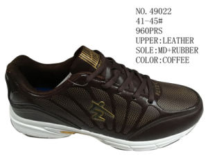 Coffee Color Leather Men Sport Stock Shoes pictures & photos