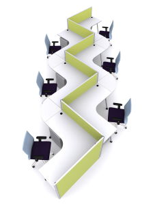 S-Shaped Office Workstation, Fabric Panel Structure Office Partition (SZ-WS162) pictures & photos