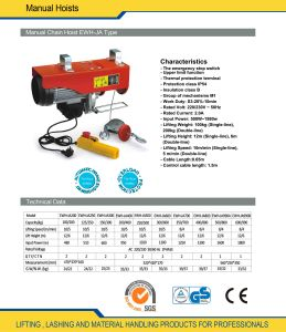 Mini Electric Wire Rope Hoist (CWH-JA) pictures & photos