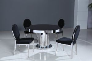 (ST-140) Black Round Tempered Glass Dining Table pictures & photos