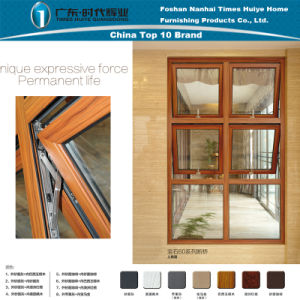 Aluminium House Wood Grain Combination Window with Double Glass pictures & photos