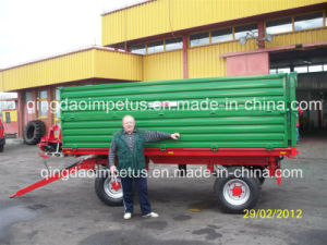 8tons Heavy Duty Hydraulic Dump Two Panels Agricultural Farm Trailer pictures & photos