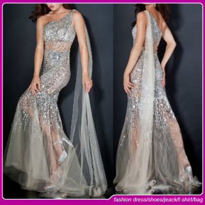 2015 Fashion One Shoulder Tulle with Crystals Sheer Skirt Gray Long Sleeve Evening Dresses (C-156)