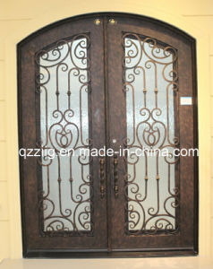 Popular Design Wrought Iron Door with Eyebrow Top