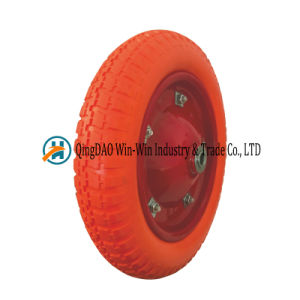 Flat Free PU Wheelbarrow Wheels with Spoke Color (3.00-8) pictures & photos