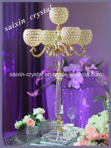Gold Crystal Candelabra for Wedding Decoration