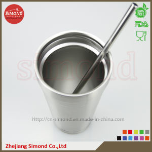 500ml Stainless Steel Vacuum Cup with Metal Straw pictures & photos