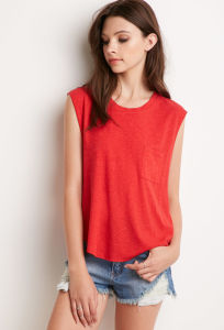 Women Raw Trim Armholes and Hemline Pocket Muscle T Shirt pictures & photos