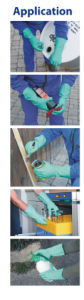 Seamless Knitted Cotton Liner Blue Nitrile Chemical Proof Gloves pictures & photos