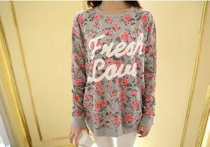 Flower Pattern Korea Style Cotton Sweatershirt Sweater pictures & photos