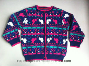 Kids Sweater Intarsia Effect for Girls pictures & photos