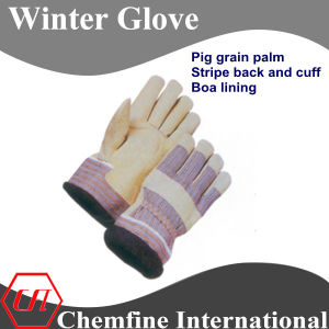 Pig Grain Palm, Stripe Back and Cuff, Boa Lining Leather Winter Glove pictures & photos