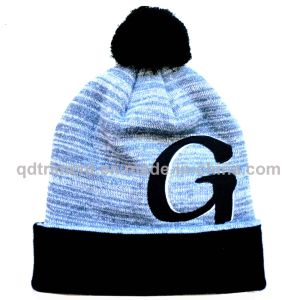 Popular Acrylic Embroidery Cuff POM Ski Crochet Beanie (TMK1731-1) pictures & photos
