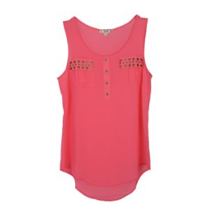 Women Fashion Clothes Summer Sleeveless Chiffon Round Neck Tank Top pictures & photos