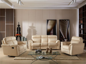 White Color Italy Design Leather Recliner Sofa pictures & photos
