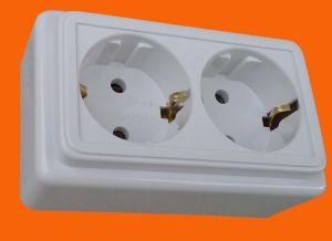 IP20 Europe Surface Mounted Double Wall Power Socket (S3210) pictures & photos