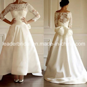 Illusion 3/4 Sleeves Wedding Dress Hi-Low Lace Bridal Wedding Gown Wd158 pictures & photos
