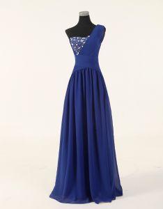 No Risk Shopping a Line One Shoulder Floor Length Beaded Chiffon Evening Dress