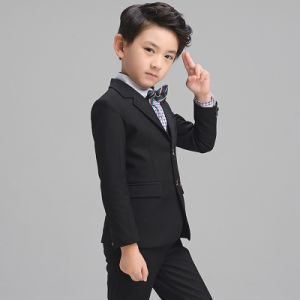 Hot Sale Formal Polyester Boys Kids Black Dress Suit pictures & photos