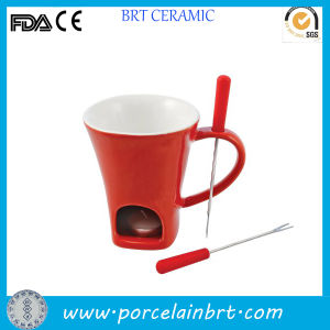 Unique Red Ceramic Fondue Mug with Fork pictures & photos