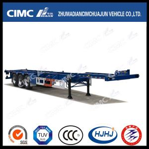 40FT 3axle Single Tire Skeleton Container Semi Trailer with Air Suspension pictures & photos