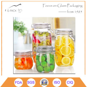 Glass Canister Set W/Clear Airtight Lid & Clamp pictures & photos