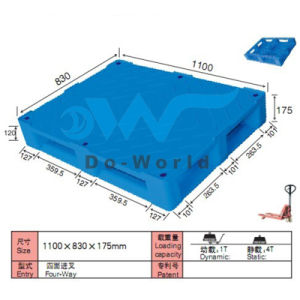 Flat Surface Plastic Pallet in Size L1100*W830*H175mm pictures & photos