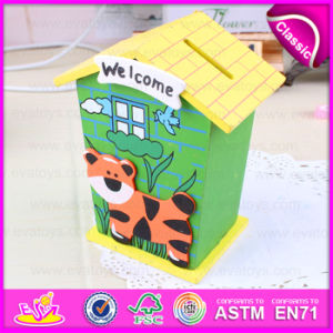 2015 Promotional Hot Sale Fashion Money Safe Box, House Shaped Money Safe Box, High Quality Wooden Money Safe Box Toy W02A024 pictures & photos