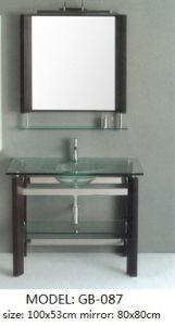 Single Bowl Glass Vanity with Silver Mirror