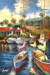 Handmade Sailboat Oil Painting on Canvas for Home Decoration (EWL-053) pictures & photos