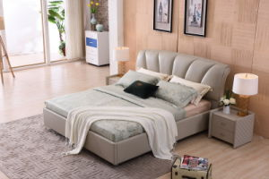 2017 Modern Shunde Bedroom Furniture Leather Soft Bed with Headboard pictures & photos