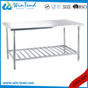 Stainless Steel Round Tube Shelf Reinforced Robust Construction Working Table with Storage Layer with Height Adjustable Leg for Sale pictures & photos