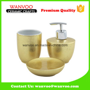 Fashionable 3 PCS Gold and Spray Glazed Ceramic Bathroom Set pictures & photos