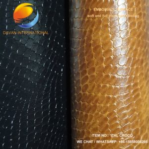 Good Quality PU Shoe Material of Synthetic Leather Ital Croco pictures & photos