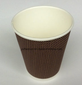 High Quality Flexo Printed Brown Ripple Paper Cup pictures & photos