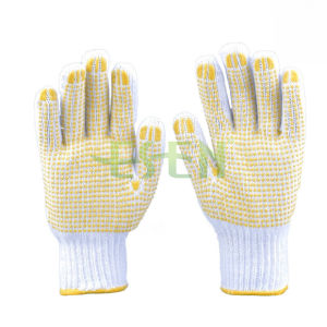 White Poly Cotton Knitted Gloves Work Gloves PVC DOT pictures & photos