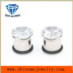 Fashion Single Zircon Single Flare Ear Plug (SPG1825) pictures & photos