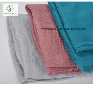 Tr Cotton Plain Shawl with Fringe Lady Fashion Scarf Factory pictures & photos